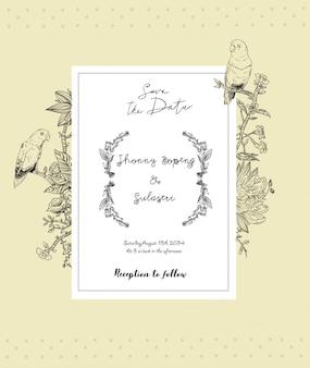 Invito a nozze vintage con cornice di fiori e uccelli