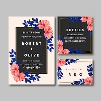 Invito a nozze vintage dell'acquerello del fiore e delle foglie blu di vermilion