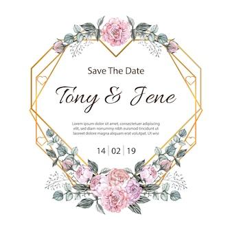 Invito a nozze vintage di fiori di rosa.