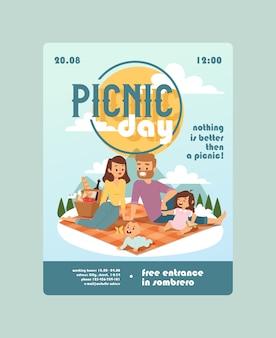 Invito a un giorno di picnic evento in famiglia annuncio di attività all'aperto per genitori con bambini