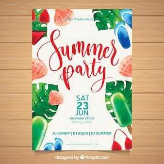 Invito a una festa estiva con elementi da spiaggia