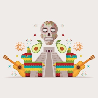 Invito a una festa in stile messicano evento di intrattenimento simboli della cultura messicana