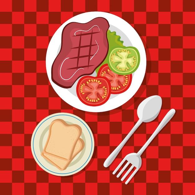 Invito a una festa picnic impostare icone