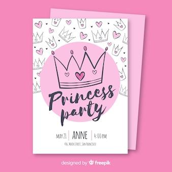 Invito a una festa principessa disegnato a mano