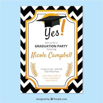 Invito alla festa di laurea elegante con design piatto