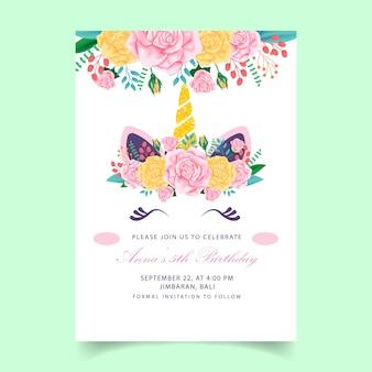 Invito bambini unicorno di compleanno