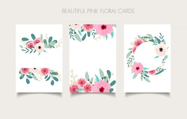 Invito carta floreale, invito, salva il disegno della data con foglie di rami di fiori rosa