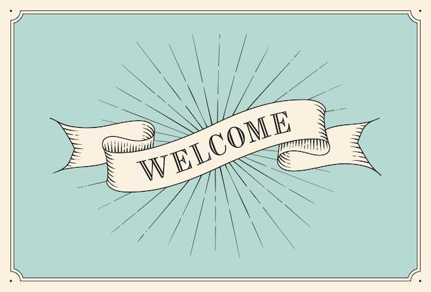 Invito con la parola benvenuto, vecchie bandiere del nastro dell'annata nello stile dell'incisione