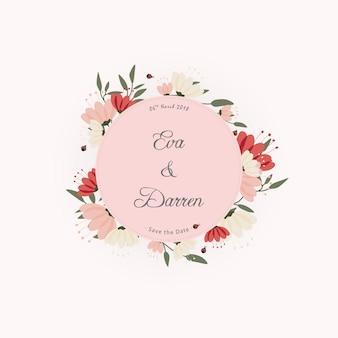 Invito con sfondo di fiori e coccinelle