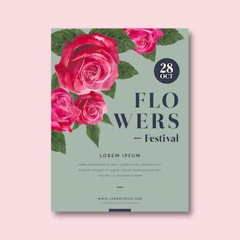 Invito decorativo di fiore fiore poster