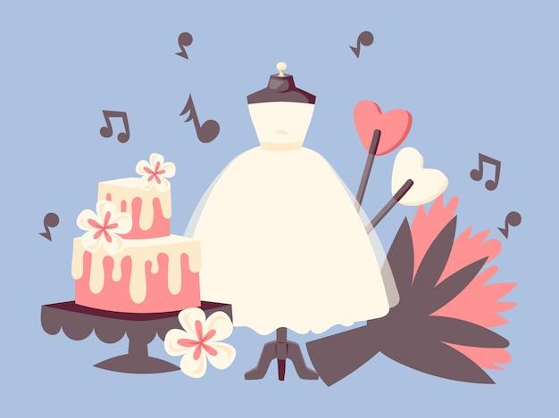 Invito del giorno delle nozze con torta nuziale, bouquet di fiori, note di musica e abito bianco.