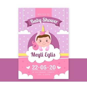 Invito dell'acquazzone della neonata