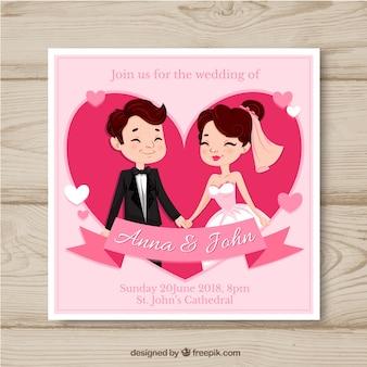 Invito della carta di nozze con stile disegnato delle coppie a disposizione