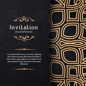 Invito di biglietto di auguri con ornamenti floreali, priorità bassa del reticolo ornamentale oro