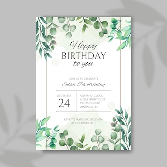 Invito di buon compleanno con cornice di foglie