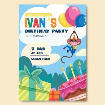 Invito di carta di compleanno per tema modello per bambini