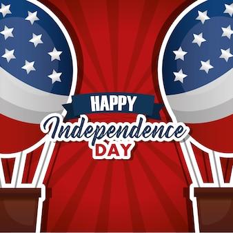 Invito di carta di mongolfiere felice giorno dell'indipendenza