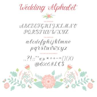 Invito di celebrazione del testo di alfabeto di cerimonia di giorno delle nozze che segna l'illustrazione con lettere retro della fonte di cerimonia di calligrafia di progettazione di carta.