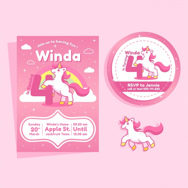 Invito di compleanno a tema unicorno