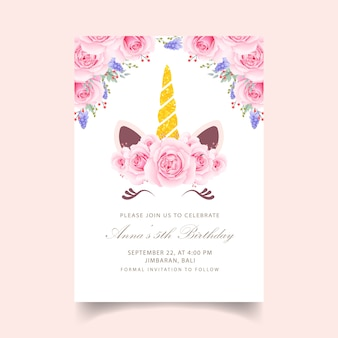 Invito di compleanno bambini floreali con unicorno carino
