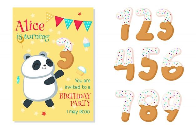 Invito di compleanno con panda e numeri