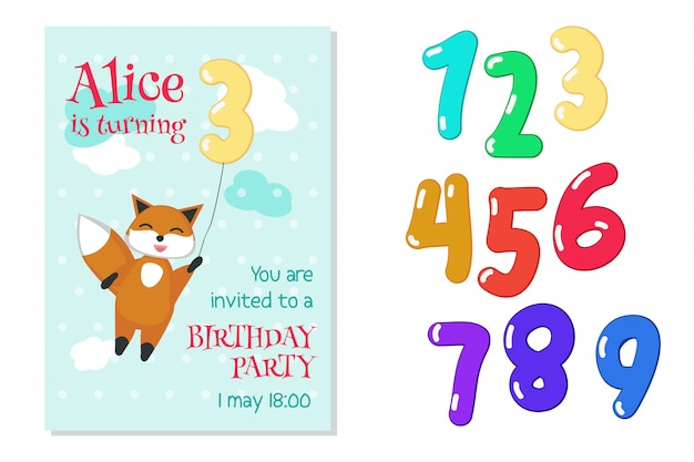 Invito di compleanno con volpe e numeri