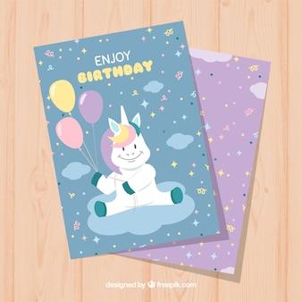 Invito di compleanno favoloso con unicorno