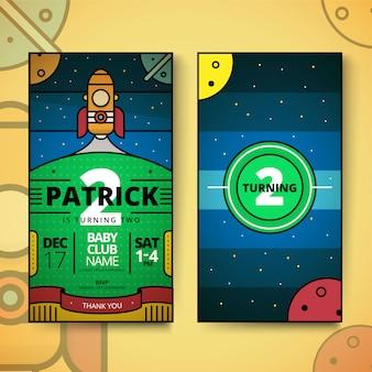 Invito di compleanno per bambini. carta di invito festa di compleanno con un design carino. tema spazio esterno