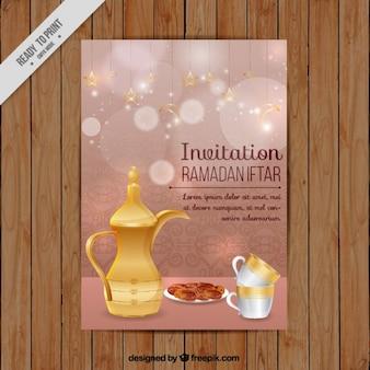 Invito di iftar ramadan con teiera e le date