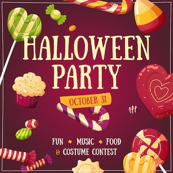 Invito di illustrazione volantino poster di halloween party candy