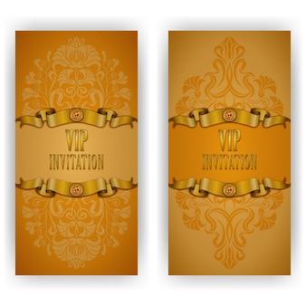 Invito di lusso modello elegante, carta con ornamento di pizzo