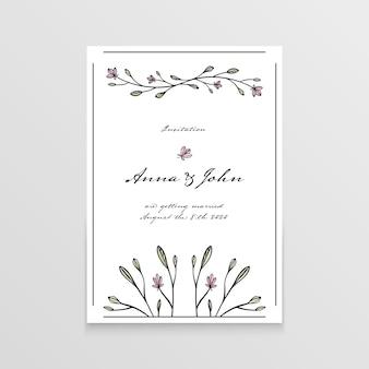 Invito di nozze con elementi floreali