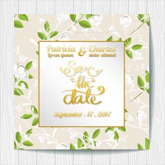 Invito di nozze con foglie di sfondo