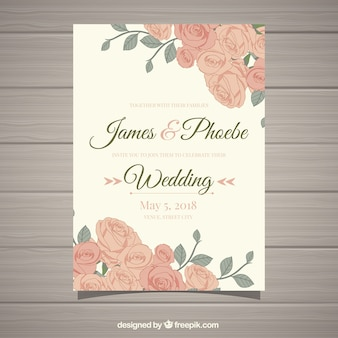 Invito di nozze d'epoca con bellissimi fiori