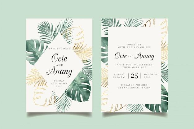 Invito di nozze delle foglie tropicali dell'acquerello con le foglie dorate