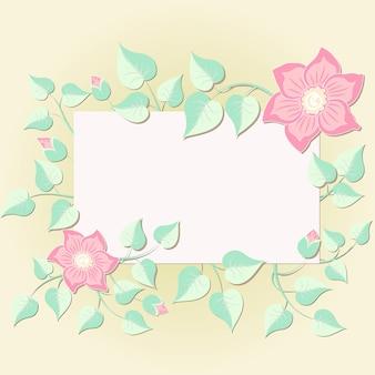 Invito di nozze e scheda di annuncio con elementi floreali. elementi floreali eleganti compongono il telaio per il testo. elementi fioriti delicati. modello di progettazione.