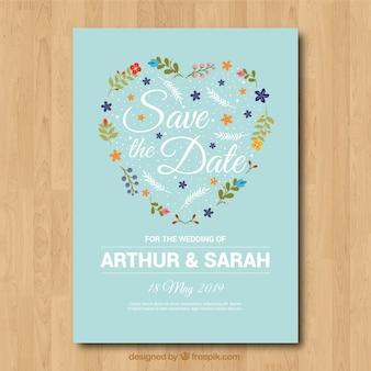 Invito di nozze incantevole con cuore floreale