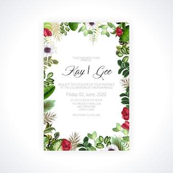 Invito di nozze, invito floreale grazie, carta moderna rsvp design: verde foglia di palma tropicale verde eucalipto rami corona decorativa