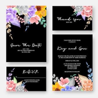 Invito di nozze, invito floreale grazie, modello di progettazione di scheda moderna rsvp