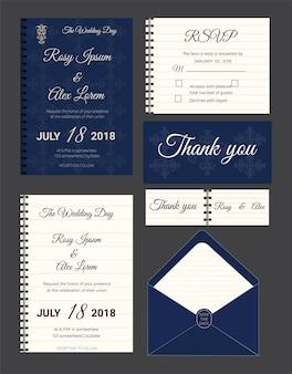 Invito di nozze, salva la data, scheda rsvp, carta di ringraziamento, tag regalo, carte di posto, carta di risposta.