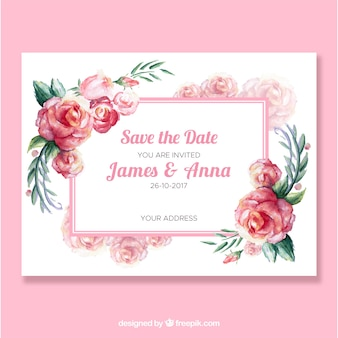 Invito di nozze sveglio con rose acquerello