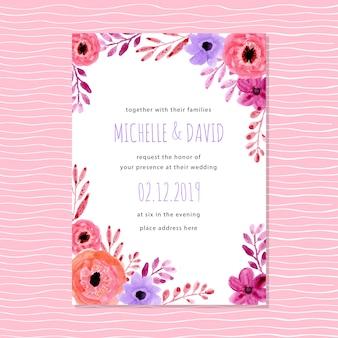 Invito di nozze viola rosa con acquerello floreale