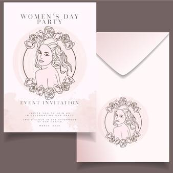 Invito di volantino giorno delle donne evento fiore moderno con elegante sfondo acquerello carta