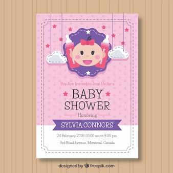 Invito doccia baby in stile piano