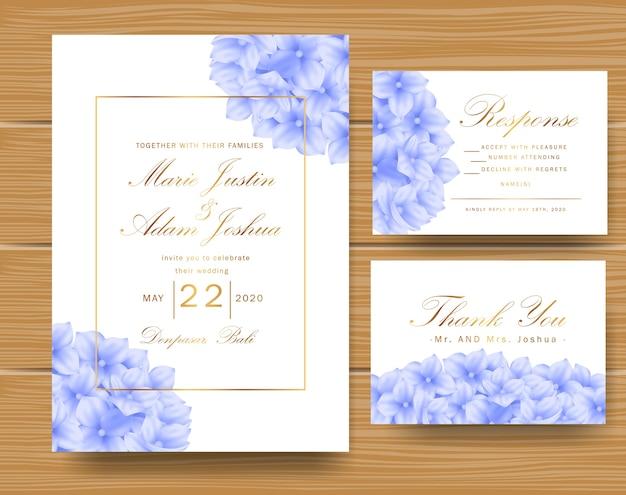 Invito floreale di nozze con blu ortensia