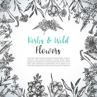 Invito floreale vintage con fiori selvatici
