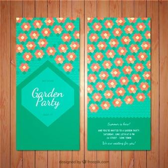Invito garden party con fiori esagonali
