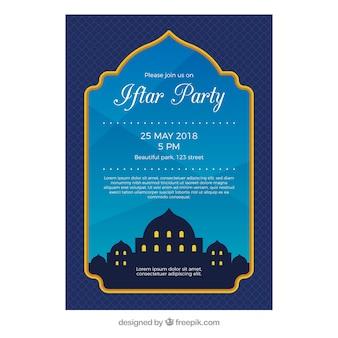 Invito iftar con silhouette moschea in stile piatto