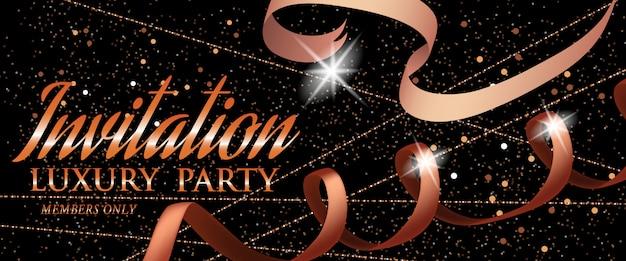 Invito luxury party modello di carta dorata con nastro
