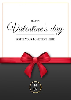 Invito romantico di san valentino con nastro rosso realistico